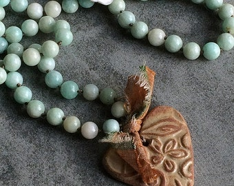 Boho heart necklace, Layering necklace, Aqua Blue, Hand knotted, Amazonite, Ceramic Heart,  Country chic, Summer wedding