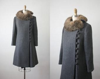 evelyn coat / 1960s charcoal wool coat