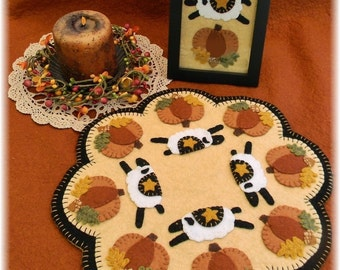 Autumn Sheep Penny Rug/Candle Mat DIGITAL PATTERN