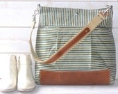 Waxed canvas bag , Diaper bag / Messenger bag Stockholm Robin egg blue nautical striped  Leather / Ikabags Featured on The Martha Stewart F1