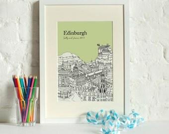 Personalised Edinburgh Print | Unique Wedding Gift | First Anniversary Gift | Engagement Gift | Custom gift | Edinburgh Gift | Edinburgh Art