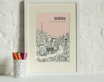 Personalised Shanghai Print | Custom Wedding Gift | Unique Engagement Gift | House Warming Gift | Framed Print | Wall Art | Honeymoon Gift