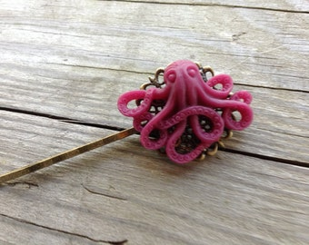 NEW! Black Cherry Octopus  Hair Clip