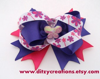 Pink and Purple Butterfly and Flowers Girls Hair Bow 4 Inches