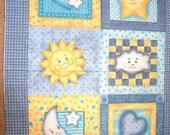 fabric panel craft quilt quilting top good night moon stars daisy kingdom baby nursery cotton