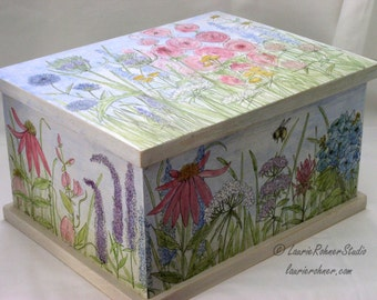 Painted Furniture Large Wood Box Garden Flower Custom Made Hinged Chest Trunk