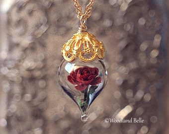 Classic Red Rose Flower Terrarium Glass Vial Necklace - 14kt. Gold Fill by Woodland Belle
