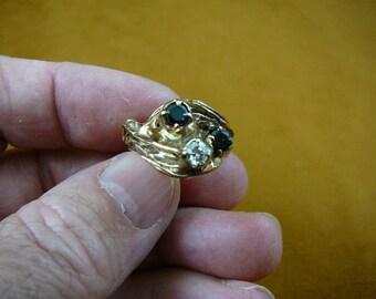 vintage green black Sapphire + white diamond gold tested 18 K kt Ring size 9.25 VR-1