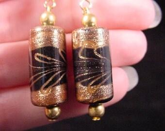 Black with copper colored swirl pattern BARREL shaped dangle earrings lampwork bead EE504-29