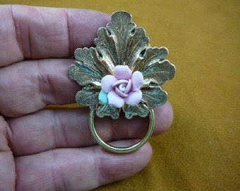 little pink porcelain rose flower on leaf brass Eyeglass holder id badge pin pendant lover E-713