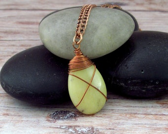 Yellow Jade Necklace, Copper Necklace, Wirewrapped Yellow Jade Necklace, Jade Necklace, Yellow Necklace, Yellow Jade Copper Necklace, Unisex
