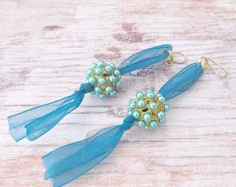 Boho Beaded Long Earrings - Beaded Tassel Earrings - Bead Tassel Earrings - Womens Beaded Fringe Earrings - Womens Bohemian Earrings - Boho