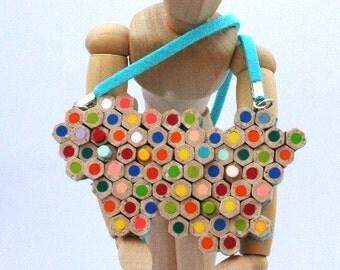 Unusual Pencil Necklace -  Handmade Polymer Clay Faux Multicolor Pencil Slice necklace