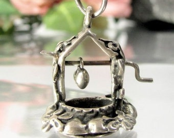 Vtg FLORAL WISHING WELL Sterling Charm Articulated Movable Figural Silver Pendant