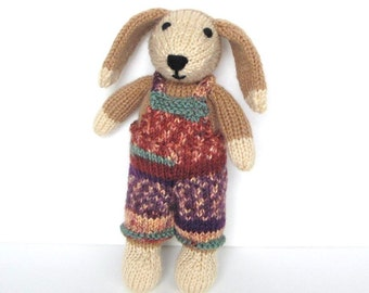 """Stuffed Toy Hand Knitted Dog, Ready To Ship, Stuffed Animal Toy Puppy Dog Handmade Knit Animal Baby Shower Gift Baby Toy Plush Doll 10"""""""