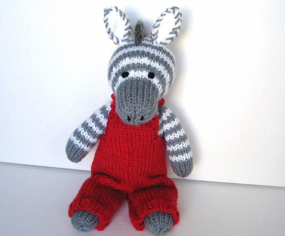 Knitting Stuffed Animals : Kids gift hand knitted stuffed animal zebra ready to ship