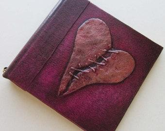 Handmade Journal Plum Stitched Heart Refillable 4x4 OOAK Original