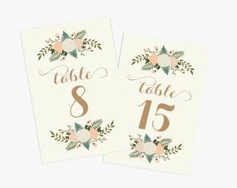 PRINTABLE Wedding Table Numbers 1-20  // Floral Table Numbers // Vintage Wedding // Rustic Wedding // INSTANT DOWNLOAD