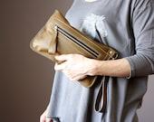 Small zipper wristlet, KHAKI leather clutch, phone case, wallet , coin purse, Iphone5 case, Iphone6 case