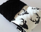 Designer Minky Blanket | Stroller Blanket | Woodland Nursery | Black Deer Antlers | Buck Forest Night Ivory