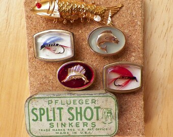 Gone Fishing Vintage Curiosities Thumbtacks / Push Pins, Lucite Fly Fishing Lures, Split Shot Sinkers Tin, Fish