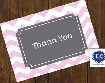 Pink Chevron Thank You Card, Thank You Card, Chevron, Pink Chevron, Pink and Gray, Baby Shower - Instant Download