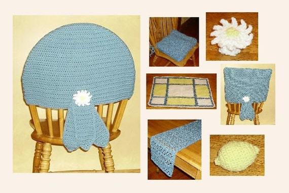 Dining Crochet French Country Table Chairback Covers Table