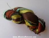 Autumn Colored Yarn, Silk Yarn, Crochet Yarn, Art Yarn, Colorful Yarn, Autumn Leaves Colored Yarn, Ribbon Yarn, Recycled Silk Ribbon Yarn