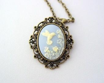 Hummingbird Blue Ivory Cameo Antique Bronze Necklace