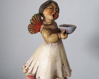 THUN Italy Angel Singing Christmas Angel 7.5 inches tall, Vintage Ceramic Angel Open Mouth Singer Angelic Collectible
