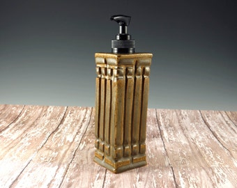 Ceramic Pottery Hand Soap Dispenser - AmberLiquid Soap Pump - Lotion Pump - Arts and Crafts Prairie Mission Style - 820