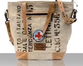 Canvas Shoulder Bag, Recycled Italian Military Duffel,Handbag, Top Handle, Crossbody Bag, OOK, Unisex Bag, Made in GERMANY //pauline-2140