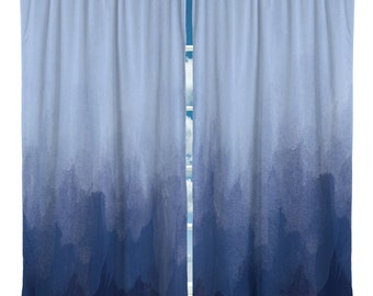 Navy Blue Watercolor Window Curtains - Custom Any Size - Any Colors - Can Personalize