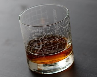 Indianapolis Map Rocks Glass