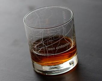 San Antonio Map Rocks Glass