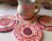 Pink Bohemian Coiled Coasters - Set of 4 - Handmade by Me