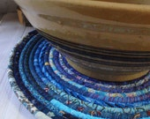 Bohemian Coiled Blue Table Mat, Chair Pad, Hot Pad, Trivet - LARGE ROUND
