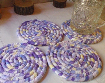 Pastel Purple, Blue and Yellow Coiled Fabric Coasters - Set of 4 - Handmade by Me
