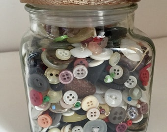Grandmas Button Jar, Vintage Button Lot