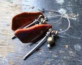 Sterling Silver Hoop Earrings, Red Orange Mustard Moss Green Agate Organic Rustic Primitive Ethnic Tribal Mixed Metal Autumn Assemblage OOAK