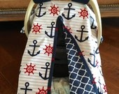 Baby Car Seat Cover - New Gray Stripe  Navy and Red Anchor print with navy quatrefoil - All Cotton - Baby Boy - Canopy Cover - Nautical