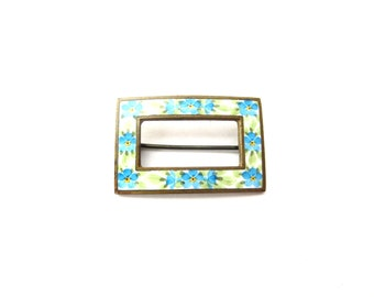 Vintage Dainty Blue & Yellow Enamel Forget Me Not Flower Rectangular Shaped Gold or Brass Tone Metal Sash Brooch / Sash Pin