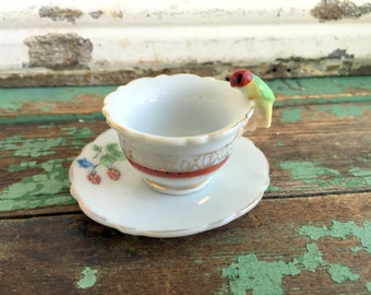 Vintage Miniature Tea cup With Parrot bird handle hand painted strawberries