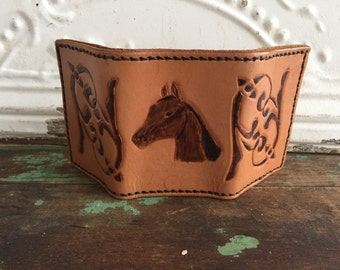 Vintage Tooled leather wallet Tri-Fold Horse Head Western Wallet