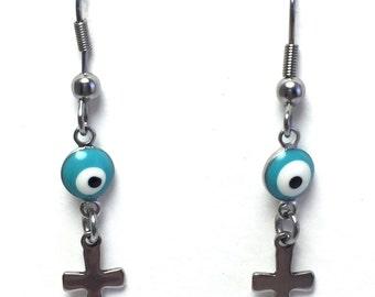 Evil eye cross dangle earrings - Turquoise eye - stainless steel -  Stainless - Greek jewelry - Gift for women or girl