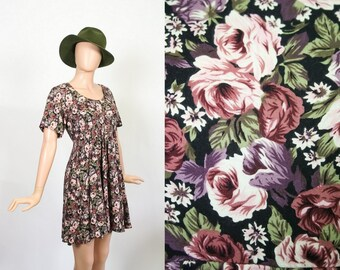 Vintage 90s Floral Rayon Mini Dress / 1990s Babydoll Grunge Revival Dress / Extra Small