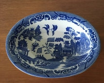"Blue Willow 12"" Vegetable Dish, Blue Willow Transferware Serving Bowl"