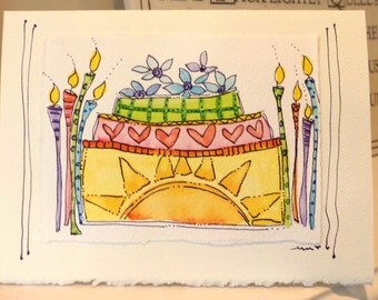 "Big Sun Birthday Cake  Watercolor Original Card ""Big Card"" 5x7 With Matching Envelope  betrueoriginals"