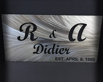 Customizable Family Established Stainless Steel Wall Art Wedding Gift