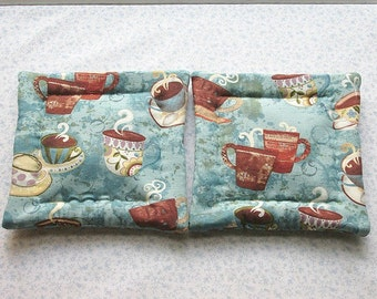 blue coffee cups hand quilted set of 2 potholders hot pads